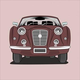 Ilustración en auto clásico vintage