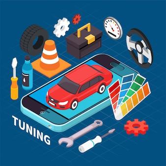 Ilustración de auto servicio y tuning