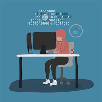 Ilustración del avatar humano usando tecnología