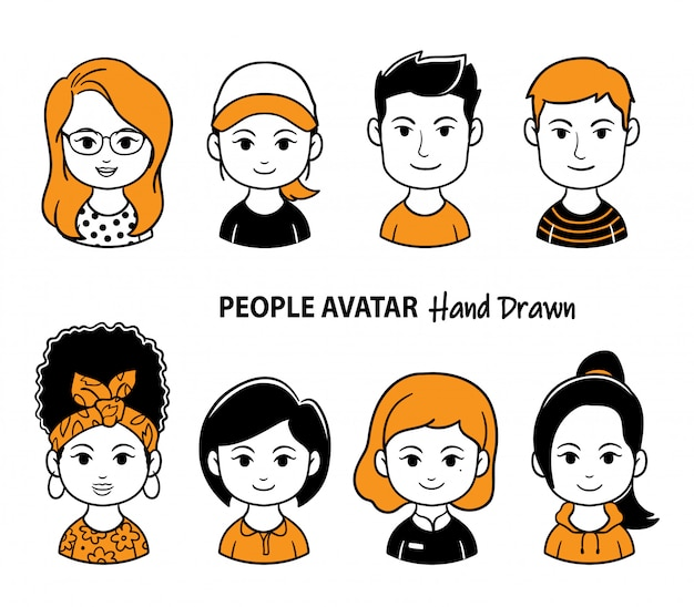 Ilustración de avatar jóvenes