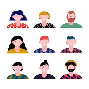Ilustración de avatares de personas