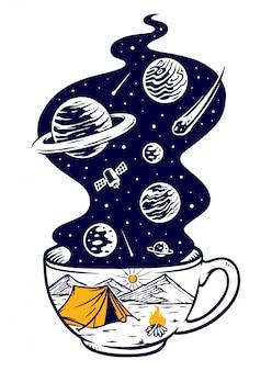 Ilustración de aventura de café