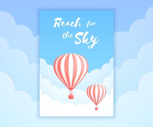 Ilustración de aventura de cielo de globo de aire caliente