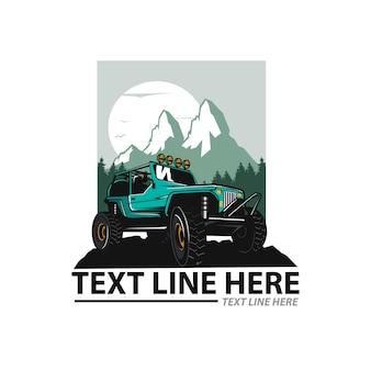 Ilustración de aventura fuera de carretera con plantilla de texto