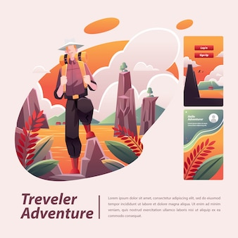 Ilustración de aventura de viajero