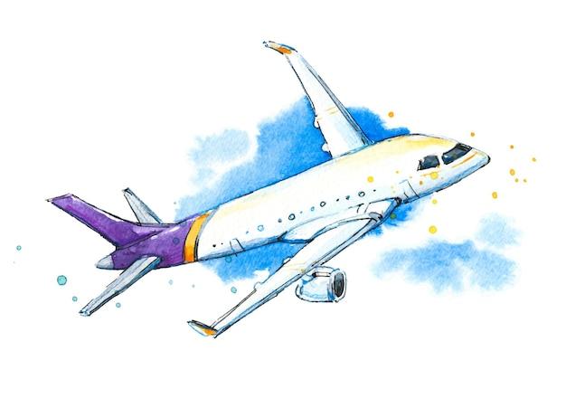 Ilustración de un avión de acuarela en el cielo