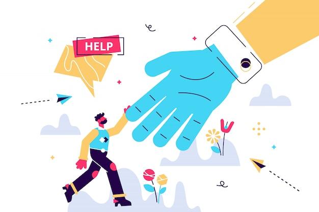 Ilustración de ayuda concepto de persona de asistencia de emergencia plana pequeña. solución de rescate en peligro y situación problemática. servicio de solidaridad social y ayuda voluntaria. resumen dando mano trabajo en equipo
