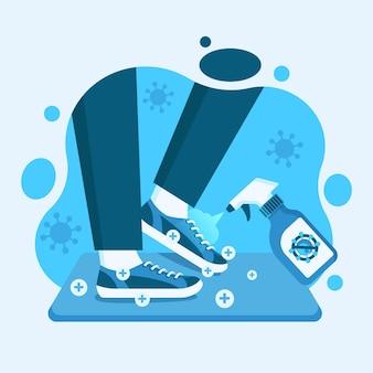 Ilustración azul del concepto de esterilla desinfectante