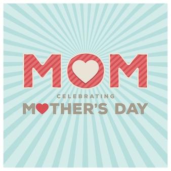 Ilustración azul de lettering para el día de la madre con efecto ráfaga