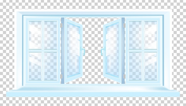 Ilustración azul moderna de la ventana plástica de la casa abierta en transparente