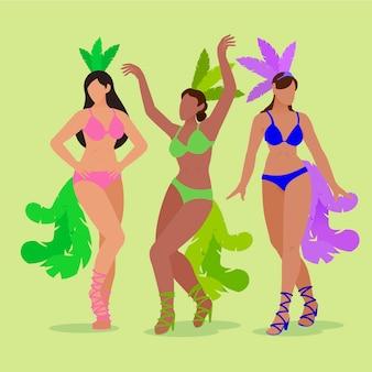 Ilustración con bailarina brasileña