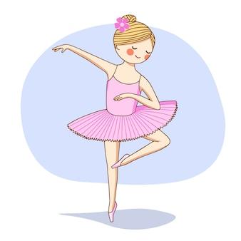 Ilustración. una bailarina con un tutú rosa baila en el escenario.