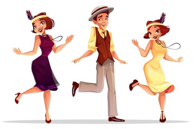 Ilustración de bailarines de jazz de mujeres de mediana edad y hombre con sombrero bailando charleston