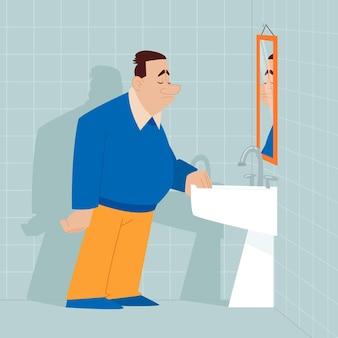 Ilustración de baja autoestima con hombre y espejo.