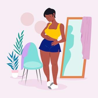 Ilustración de baja autoestima con mujer y espejo.