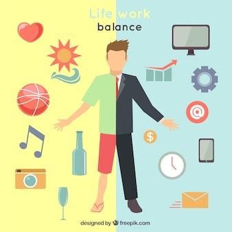 Ilustración de balance de vida y trabajo