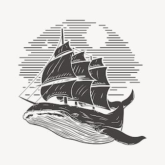 Ilustración ballena y barco, bosquejo