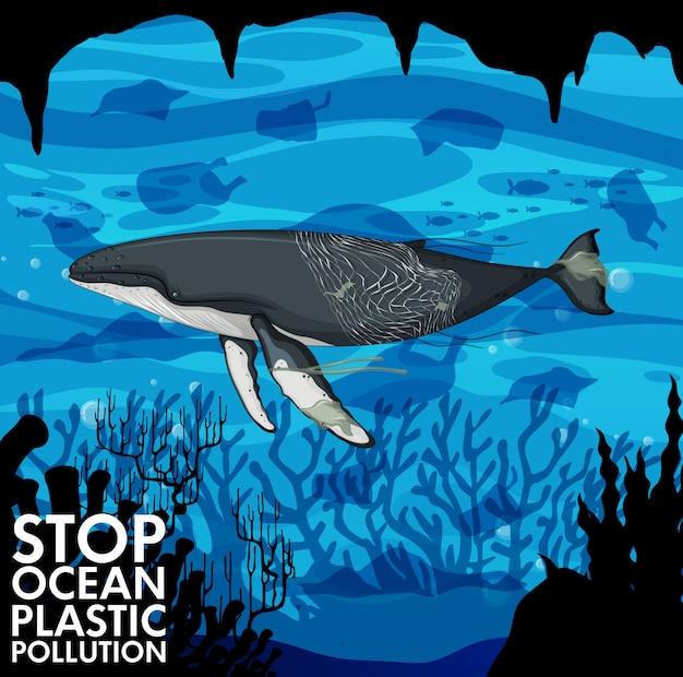 Ilustración con ballena y bolsas de plástico