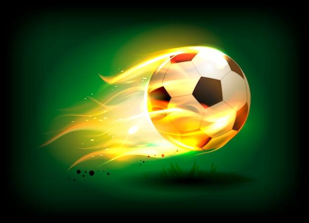 Ilustración de un balón de fútbol, fútbol en una llama de fuego en un campo verde