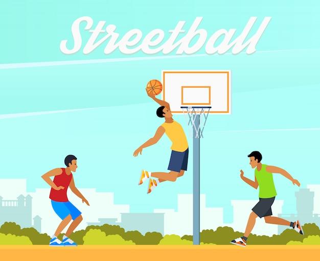 Ilustración de baloncesto callejero