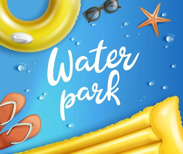 Ilustración de balsa amarilla inflable y anillo de natación con flip-flop y gafas de sol sobre fondo azul con gotas de agua y estrellas de mar en el parque acuático