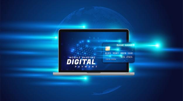 Ilustración de banca por internet con una computadora portátil y una tarjeta de crédito