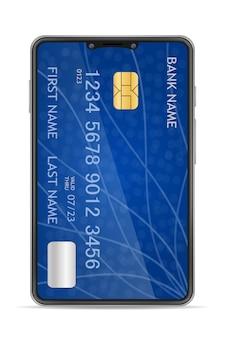 Ilustración de banca en línea de concepto de smartphone aislado sobre fondo blanco