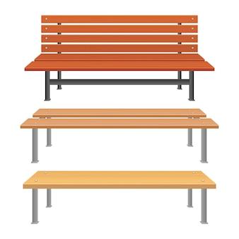 Ilustración de banco de parque aislado sobre fondo blanco.