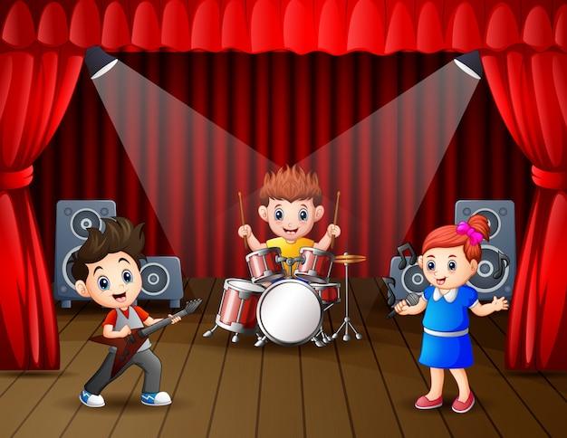 Ilustración de una banda actuando en el escenario