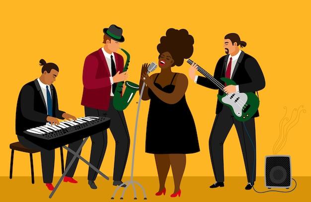 Ilustración de la banda de jazz