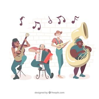 Ilustración de banda tocando instrumentos