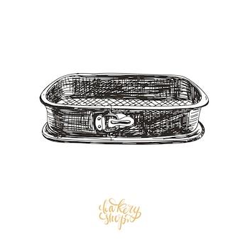 Ilustración de bandeja para hornear dibujada a mano.