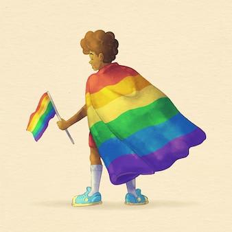 Ilustración de bandera del día del orgullo de acuarela pintada a mano