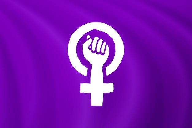 Ilustración de bandera feminista realista