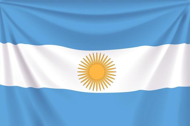 Ilustración de bandera realista de argentina con pliegues.