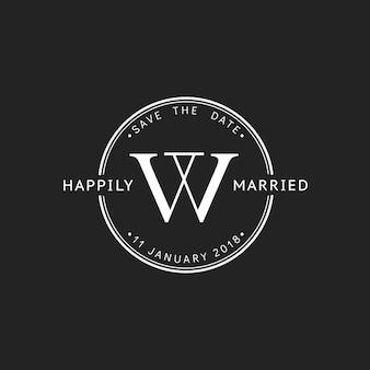 Ilustración de la bandera del sello de invitación de boda