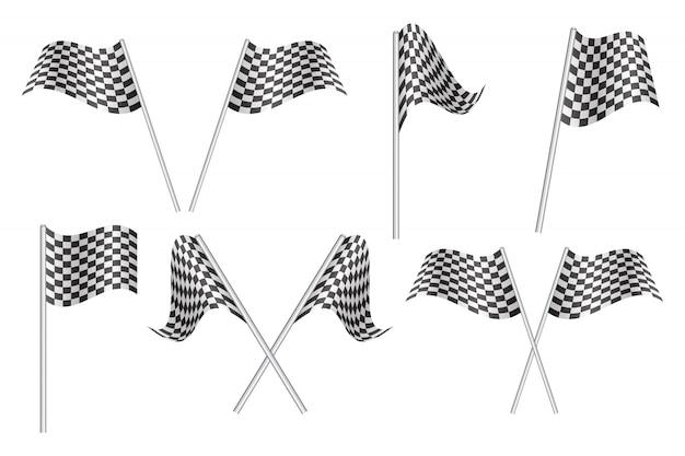 Ilustración de banderas de carrera a cuadros