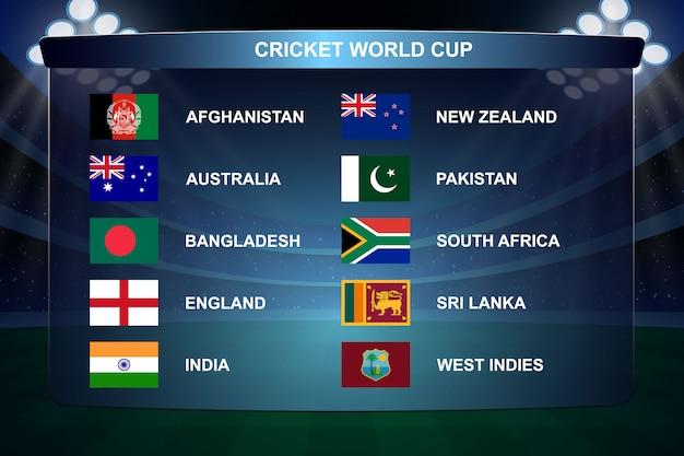 Ilustración de banderas de copa mundial de cricket