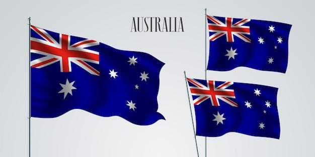 Ilustración de banderas ondeando en australia