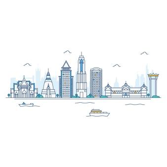 Ilustración de bangkok skyline.