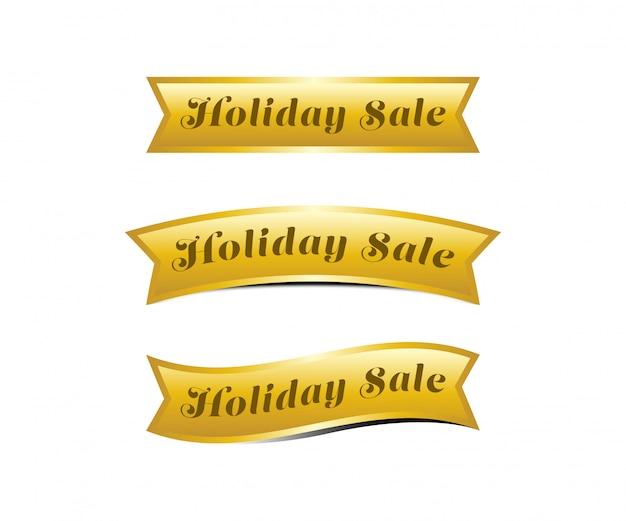 Ilustración de banner de cinta de oro de venta de vacaciones.