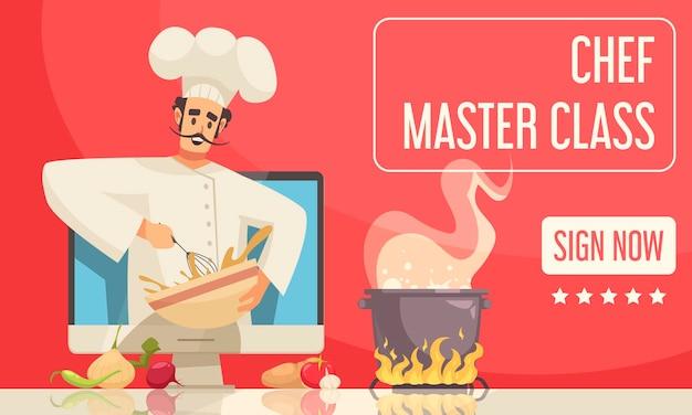 Ilustración de banner de clase magistral de chef