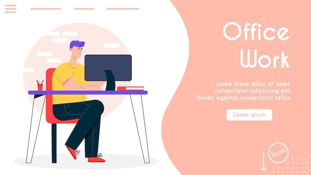 Ilustración de banner de cómodo lugar de trabajo en la oficina. el hombre se sienta en el escritorio, trabajando en equipo. espacio de trabajo moderno, centro de coworking, trabajo autónomo a domicilio. interior de muebles ergonómicos