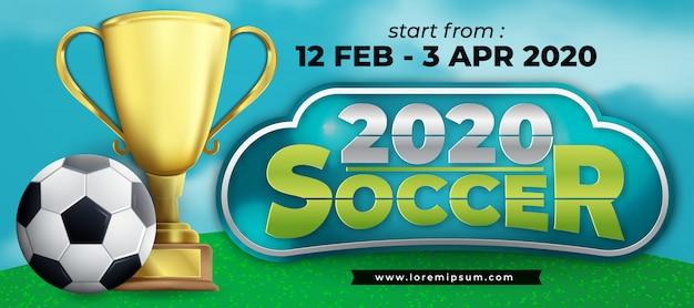 Ilustración de banner de copa de fútbol 2020 con diseño de moda