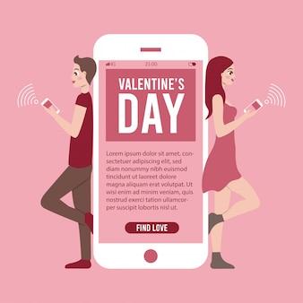 Ilustración de banner del día de san valentín con aplicación de teléfono y pareja chateando en línea