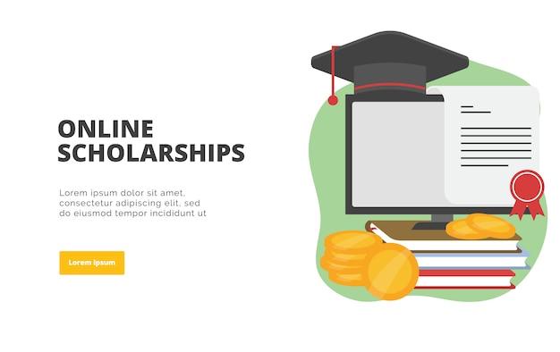Ilustración de banner de diseño plano de becas en línea