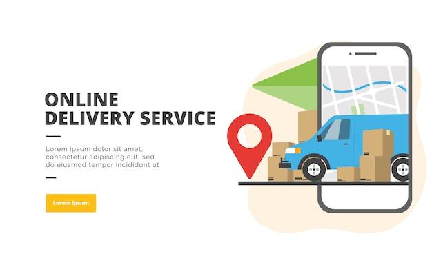 Ilustración de banner de diseño plano de servicio de entrega en línea