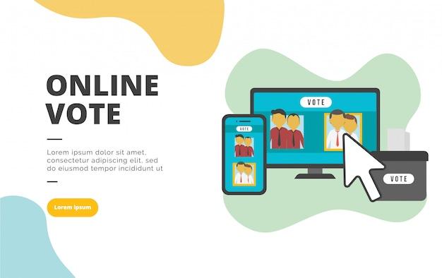 Ilustración de banner de diseño plano de voto en línea