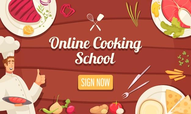 Ilustración de banner de escuela en línea de chef