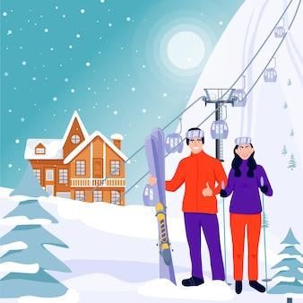 Ilustración de banner de estación de esquí.